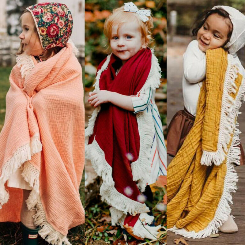 2PCS Newborn Baby Swaddles Toddler Girls Boys Wrap Stroller Cover Blankets Bath Gauze Wrap Tassel Sleeping Bag+Hat Set