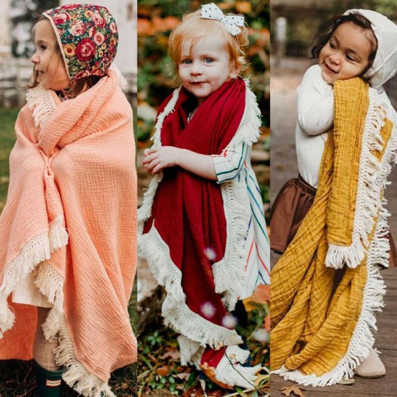 2PCS Newborn Baby Swaddles Toddler Girls Boys Wrap Stroller Cover Blankets Bath Gauze Wrap Tassel Sleeping Bag+Hat Set