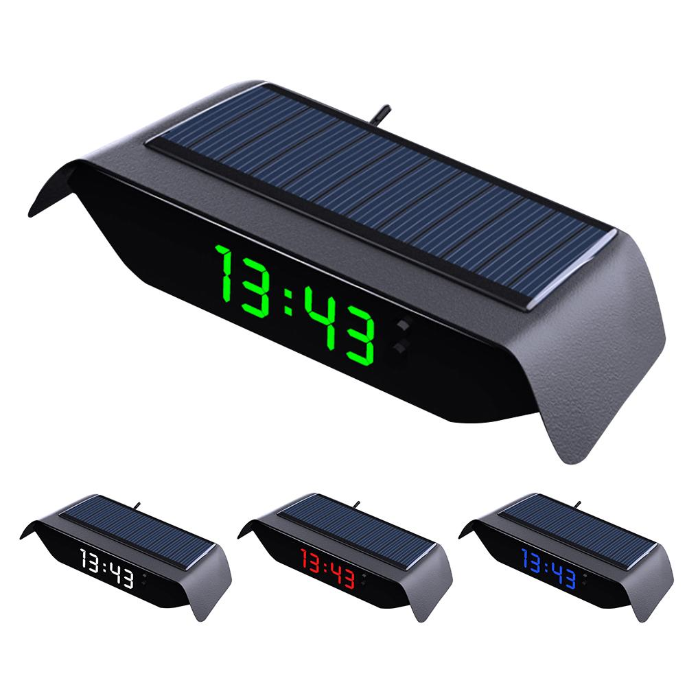4 In 1 Car Solar Clock Thermometer Luminous High-precision Electronic Watch Temperature Monitor