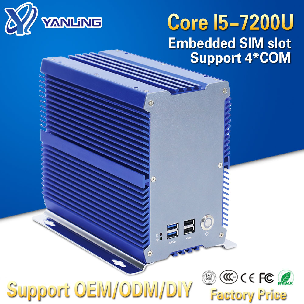 Yanling High-end Mini Industrial PC Intel Kaby Lake Core I5 7200u DDR4 Ram Dual Lan Nvidia Fanless Embedded Computer With PCI