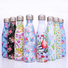 Flamingo Water Bottle Floral Stainless Steel Insulated Cup High Quality Thermos Flask Bicycle Gym Drink Travel Mug Gift