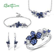 SANTUZZAเงินชุดเครื่องประดับสำหรับสตรี925เงินสเตอร์ลิงBlue Butterflyต่างหูแหวนสร้อยข้อมือสร้อยคอชุดเครื่องประดับ