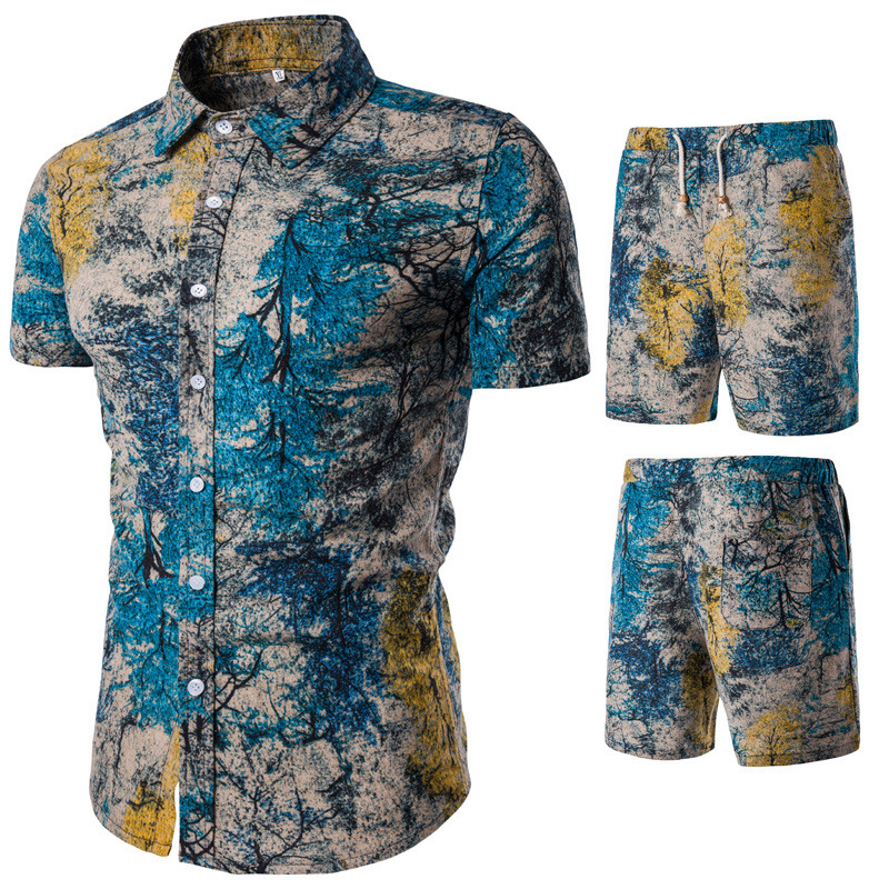 Photo Shoot Summer Men Casual Short Sleeve Ramie Cotton Shirt Set Casual Men'S Wear Straight-Cut Floral-Print Shorts