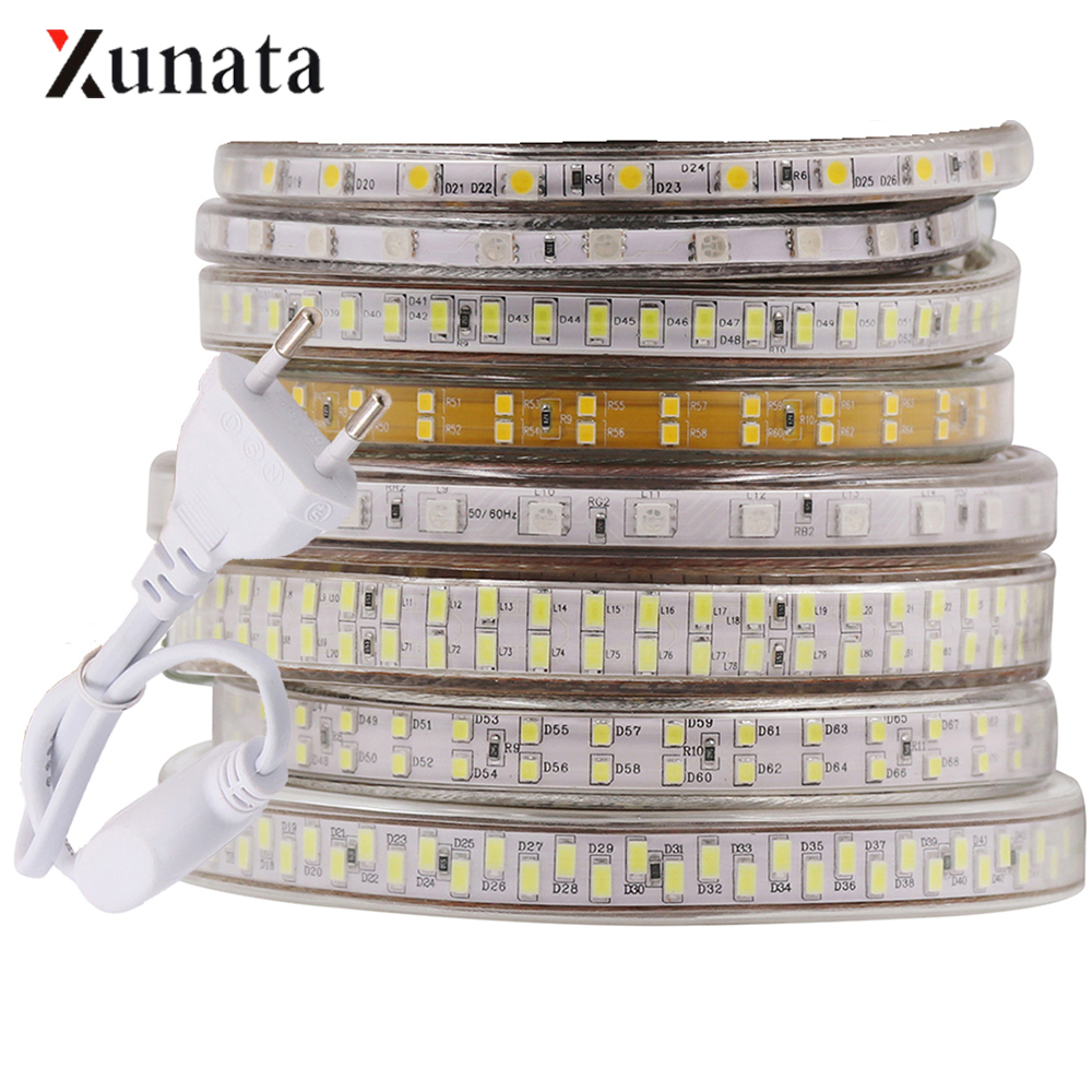 220V LED Strip Light Flexible LED Tape SMD 5630 5730 2835 5050 Waterproof LED Rope With EU Plug For Home Decoration