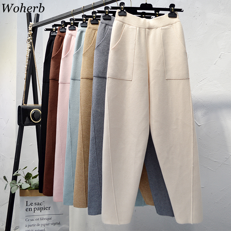 Woherb Chic Autumn Winter Loose Harem Pants Women Casual Solid Trousers Female Knitted Pants Knit Trousers With Pockets Pants
