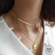 Louleur 925 srebro płaski wąż modny naszyjnik złoty szeroki Choker łańcuszek naszyjnik dla kobiet ozdoba na szyję biżuteria srebrna