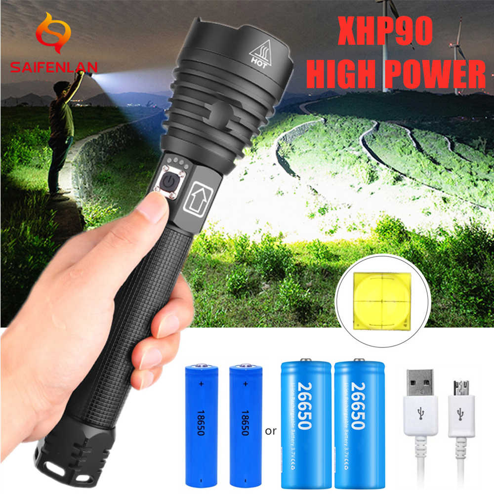 Ultra Bright USB Rechargeable XHP90 xhp70 Powerful LED Flashlight Zoom Torch UK