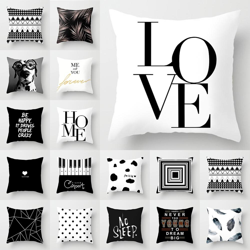 New Fashion Decorative Pillowcase Black/White Geometric Throw Cover Pillow Case Cushion For Living Room Square Home Decor