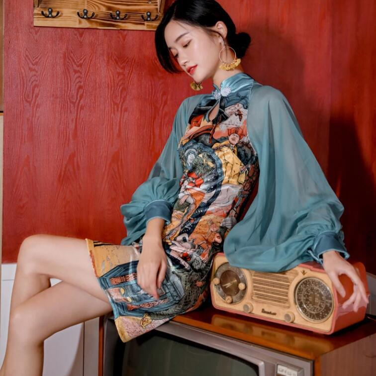 2020New Improved Modern Cheongsam Lantern Sleeve Loose Chinese Traditional Dresses Sky Blue Printed Fashion Slim Women's Clothes