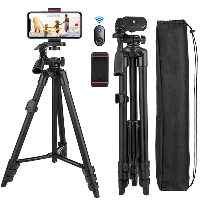 $ US $22.68 Cell Phone Tripod 55inch Selfie Stick Tripode with Bluetooth Remote Panorama Pan Head Travel Portable Tripod Stand for Mobile