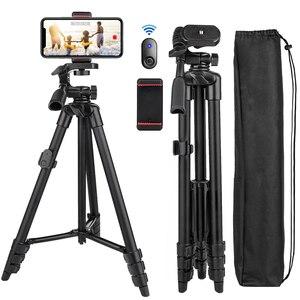 Image 1 - Mobiele Telefoon Statief 55Inch Selfie Stok Tripode Met Bluetooth Remote Panorama Pan Hoofd Reizen Draagbare Statief Voor Mobiele