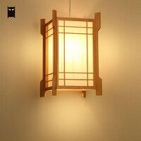Drewno dębowe mały kwadratowy wisiorek oprawa światła japoński koreański styl wisząca lampa sufitowa do Tatami restauracja pokój E27 E26 żarówka w Wiszące lampki od Lampy i oświetlenie na