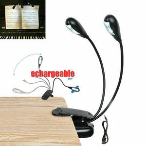 Desk-Lamp Study Double-Goosenecks Flexible Clip-On-Arm Music Mini LED USB Dual Eye-Care