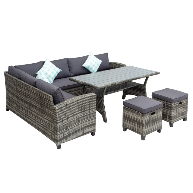 5 Pieces Outdoor Furniture Rattan Chair & Table Patio Set  6