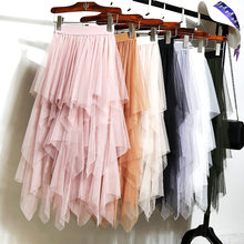 High Waist Long Tulle Skirt Women Irregular Hem Mesh Tutu Skirt Elastic Waist Band A-line Colored Mesh Pleated Mid-calf Skirts(China)