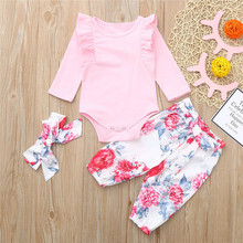 Get more info on the 2019 Fashion Infant Baby Girls Solid Jumpsuit Romper+Floral Print Pants+Headband Outfits Set