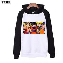 2019 New Men Women One Piece Dragon Ball Naruto Joint Name Print Hooded Sweatshirts  Harajuku Spring Hoodies Fashion Hip-hop
