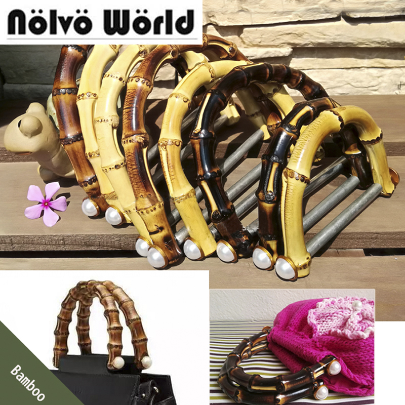 5 Pairs=10 Pieces,14.8*12cm Natural Bamboo Handles With Alum Bar For Women Knit Bag Diy Handbags Bamboo Handle
