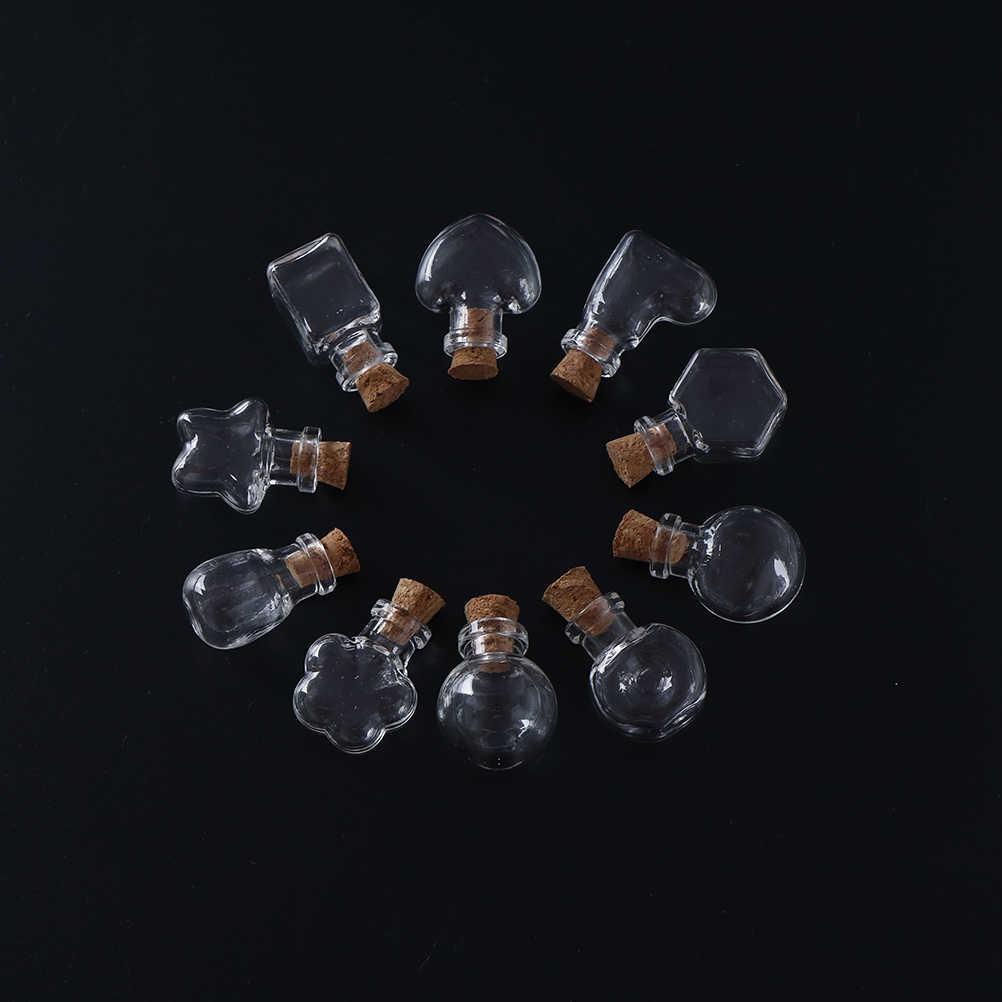10 形状ミニガラスボトルキーチェーンペンダント小さなでボトルを希望するバイアル芸術用ブレスレットギフト 2.4 センチメートル