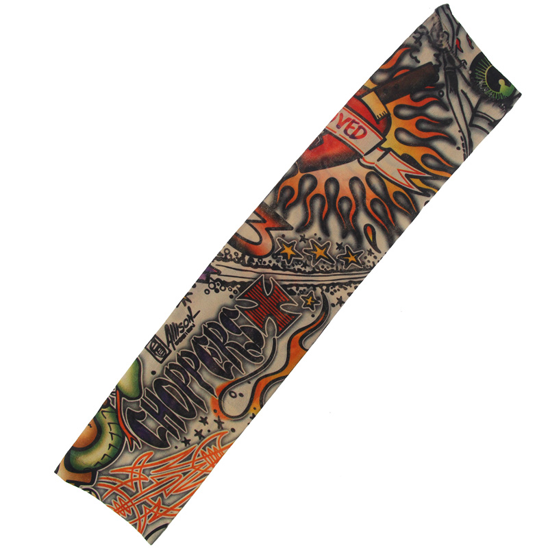Newly 6pcs New Nylon Elastic Fake Temporary Tattoo Sleeve Designs Body Arm Stockings Tatoo For Cool Men Women  FIF66