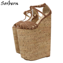 Sorbern Extreme High Heels Sandals Shoes Women Designers Summer For Wedges Platform Customized Large Size 33-46