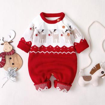 Baby Christmas Jumpsuits Reindeer Knitted