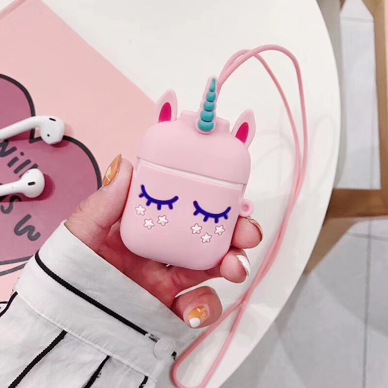 For <font><b>AirPods</b></font> 2 Case Anti-lost rope Sports lanyard Cute Cartoon headphone case i12 <font><b>tws</b></font> i10 <font><b>i30</b></font> i11 i9s i60 silicone Earphone cover image