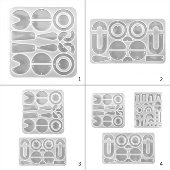 1 Set Crystal Epoxy Resin Mold Geometric Earrings Ear Pendant Casting Silicone Mould DIY Crafts Handmade Jewelry
