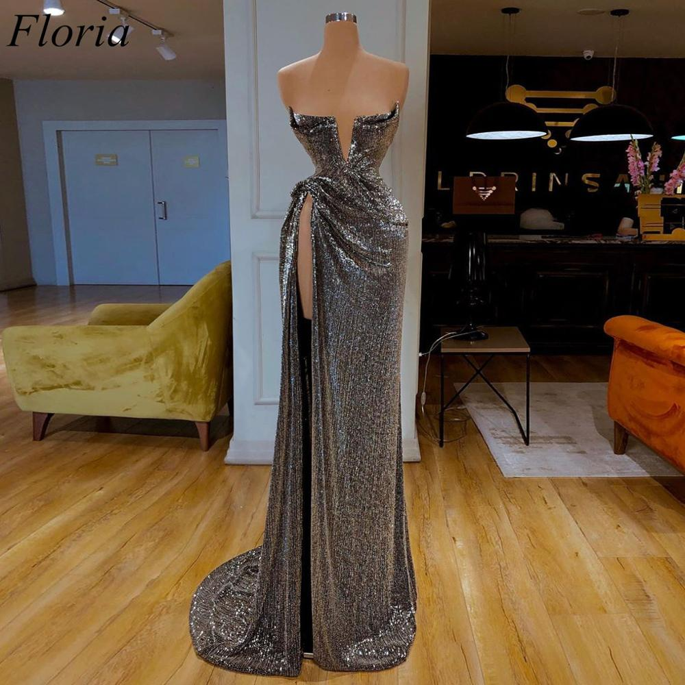 New Arrival Sexy Glitter Cocktail Dresses 2019 Strapless High Split Turkish Prom Dress Long Formal Women Party Gowns Vestidos