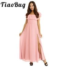 Women Ladies Elegant Off the Shoulder Ruffled Waist Side Split Bridesmaid Dresses Chiffon Prom Formal Party Gowns Princess Dress