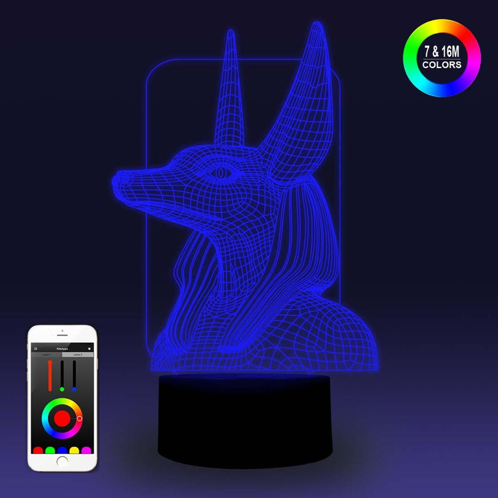 NiteApps 3D Egyptian Anubis Night Light Desk Table Illusion Lamp Holiday Birthday Gift APP/Touch Control