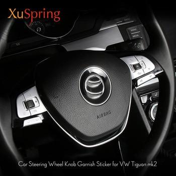 Для VW Tiguan 2016-2020 mk2 автомобильные хромированные кнопки на рулевом колесе накладка наклейки Стайлинг Аксессуары 6 шт./компл.