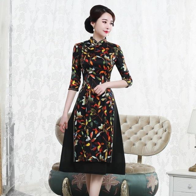 Autumn 2019 new mulberry silk cheongsam dress retro high end improved mid long 7 sleeve oder fashion