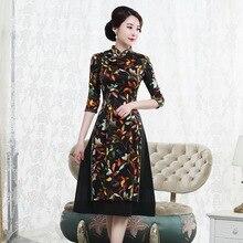 Jesień 2019 nowy jedwab suknia w stylu qipao retro high end ulepszona o średniej długości 7 z długim rękawem odry moda