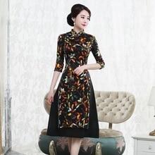 Otoño 2019 nuevo vestido cheongsam de seda mulberry retro de gama alta mejorado medio largo 7 Manga oder moda