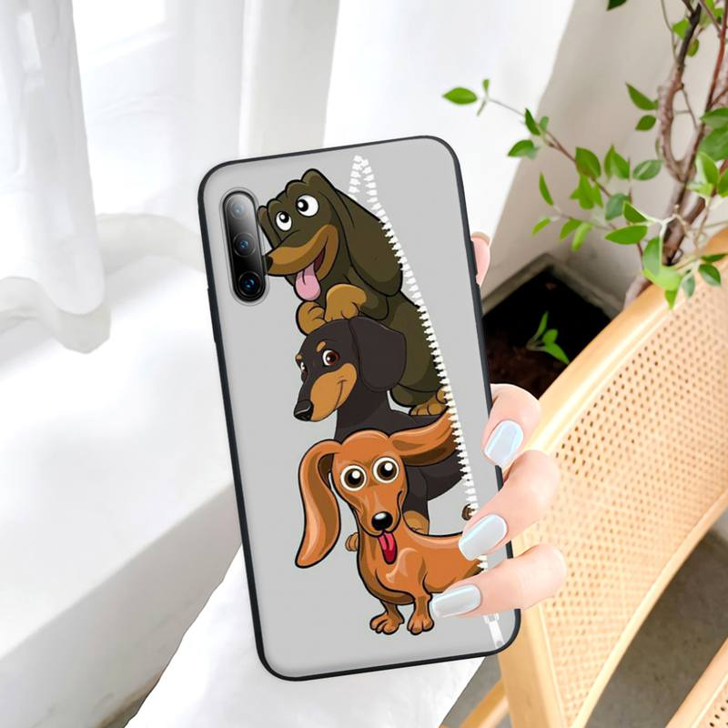 Cute Dachshund Dog Black Silicone Mobile Phone Cover For Samsung Galaxy S9 S10 S20 S21 S30 Plus Ultra S10e S7 S8 Case