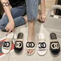 Sandals And Slippers Women Wear 2020 Summer Straw Woven Small Fragrance Wind Fisherman Shoes One Pedal Lazy Half Drag