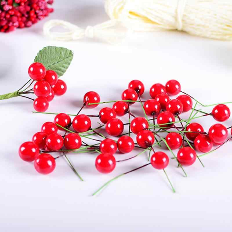 Hot DIY 50/100pcs Kunstmatige Foam Cherry Berry Kleurrijke Holly Berry Kerstboom Decor Bundel Guirlande Krans Party home Decor