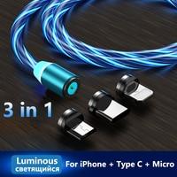 Cable de carga brillante para iluminación LED, Cable magnético tipo C, Micro USB, cargador magnético para Samsung, iPhone 8, Cable de luz brillante por la noche