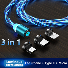 Glowing Charging Cable LED Lighting Magnetic Type C Cable Micro USB Magnet Charger for Samsung iPhone 8 Glow Light Cord at Night