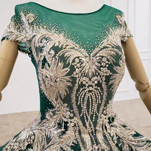 Image 5 - HTL1133 green evening dress lebanon o neck short sleeve appliques beads ball gown womens long evening gowns dubai vestido longo