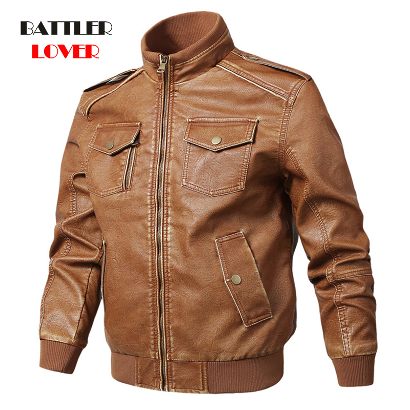 Men Genuine Leather Jackets Motorcycle Stand Collar Zipper Pocket Male Plus Size M-5XL Coats Biker Cow Leather Fashion Outerwear 1