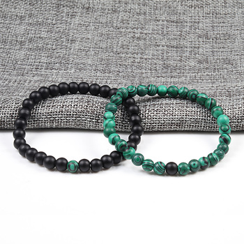 Couples Distance Beads Bracelet Classic Black Matte Green Malachite Bracelets Suitable Women Men Yoga Elastic Strand Jewelry 1