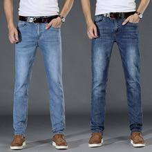 Newly Spring Autumn Fashion Men Jeans Stretch Cotton Casual Simple Blue Color Elastic Slim Fit Vintage Designer