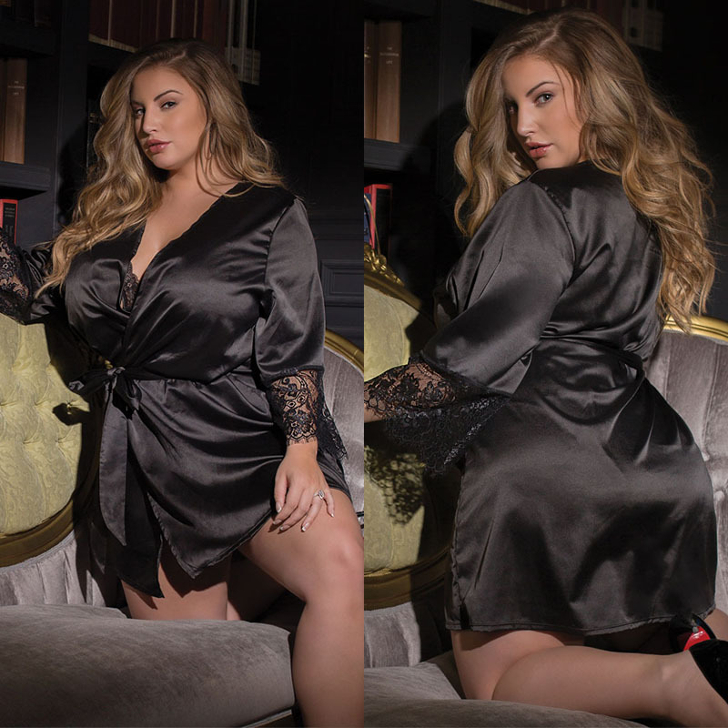New Hot Sexy Lingerie Plus Size 5XL Satin Lace Black Kimono Intimate Sleepwear Robe Sexy Night Gown Women Erotic Underwear