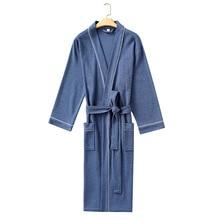 Men Nightgown Sleepwear Kimono Waffle-Bathrobe Couple Home-Clothes Casual Lingerie Soft-Intimate