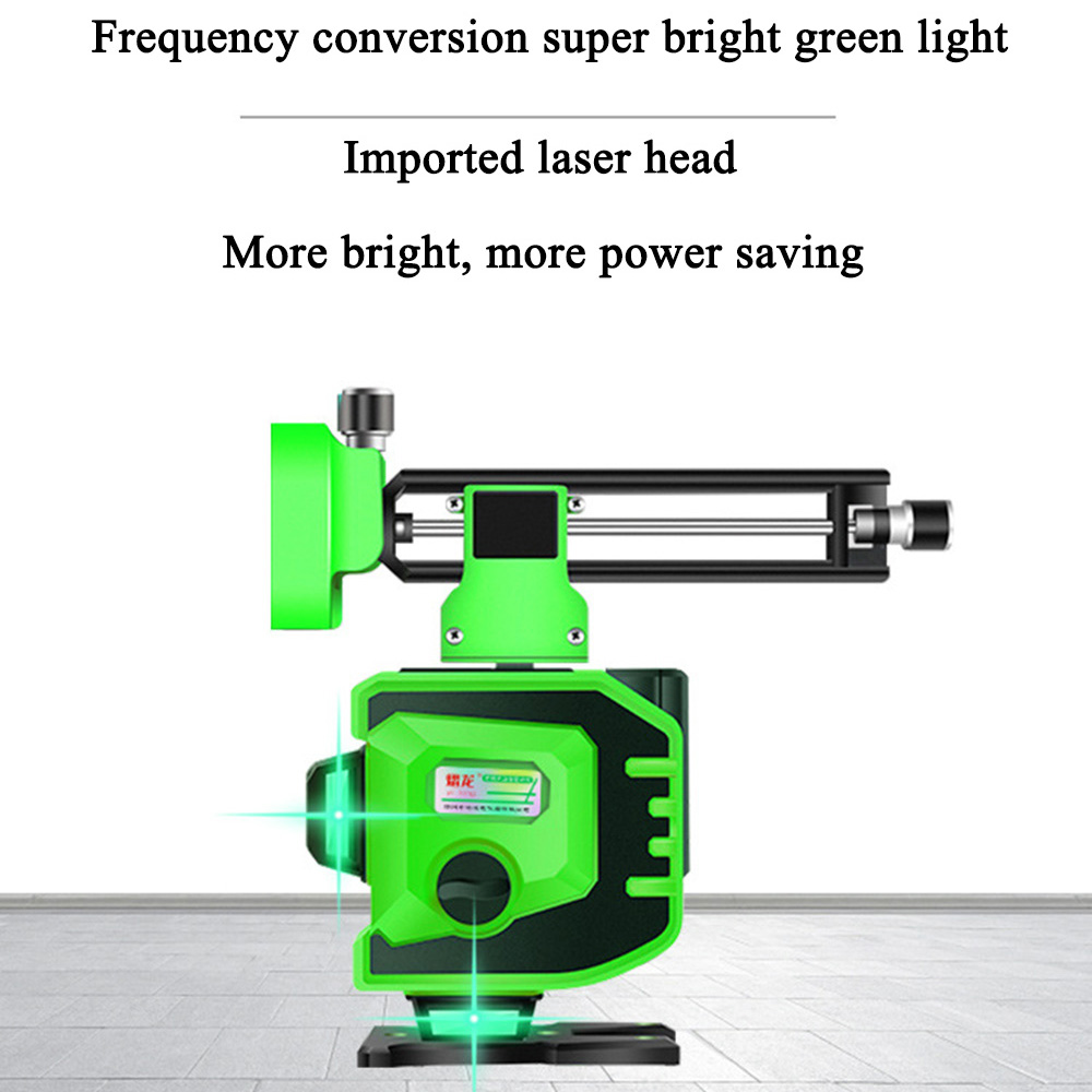 12 linii poziom lasera 3D poziom samopoziomujący 360 poziome i pionowe krzyż Super mocny zielony laser poziom