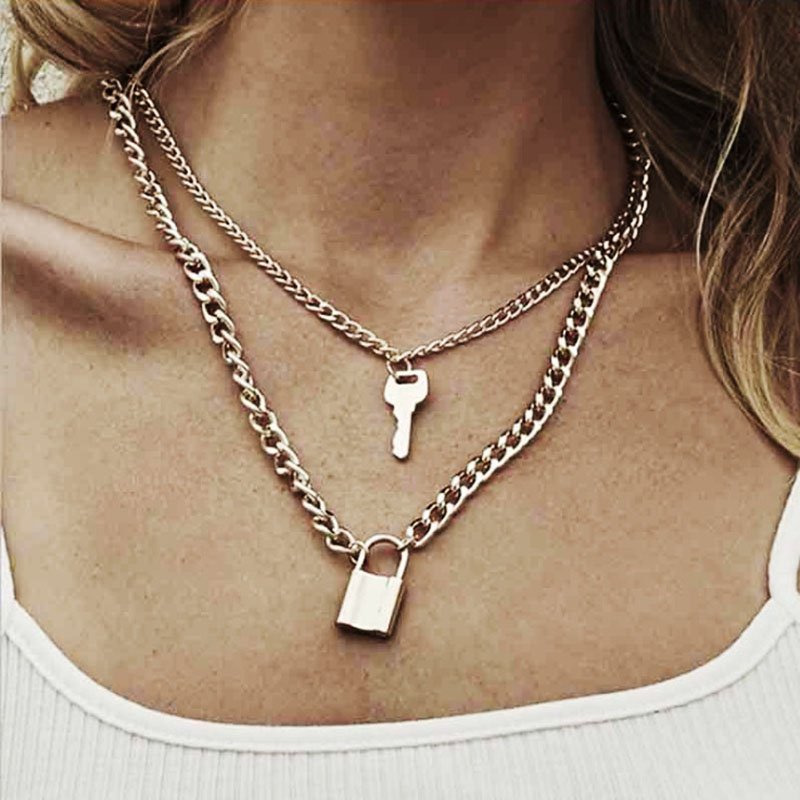 2020 Vintage Layered Key Lock Pendant Necklace Bohemian Multilayer Gold Chain Collar Choker Necklace Fashion Punk Jewelry