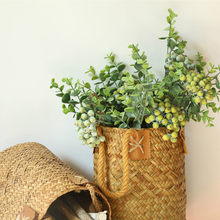 35.5CM Foam Green Berry Branch Plastic Flowers Artificial Fake Plant for Home Garden Wedding Car decoration Christmas Tree Decor(China)