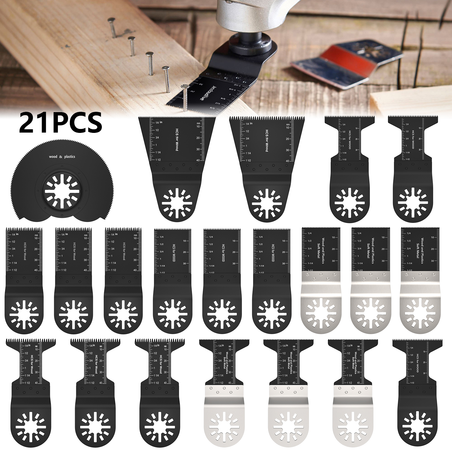 20PCS Universal Mix Blades Oscillating Saw Blade Kit For Wood And Metal Cutting Quick Release For Dewalt Multi Tool Accessories